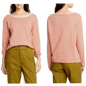 Alex Mill Roll Neck Stripe Sweater In Natural Red